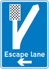 Direction to escape lane ahead for vehicles unable to stop on a steep hill